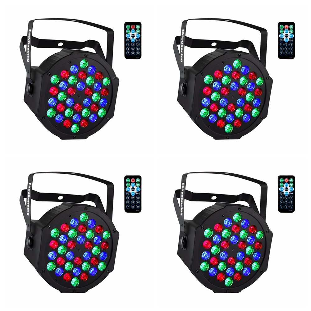 Par Lighting for Stage, 36x1W LED RGB 7 Channel with Remote for DJ KTV Disco Party (4pcs)