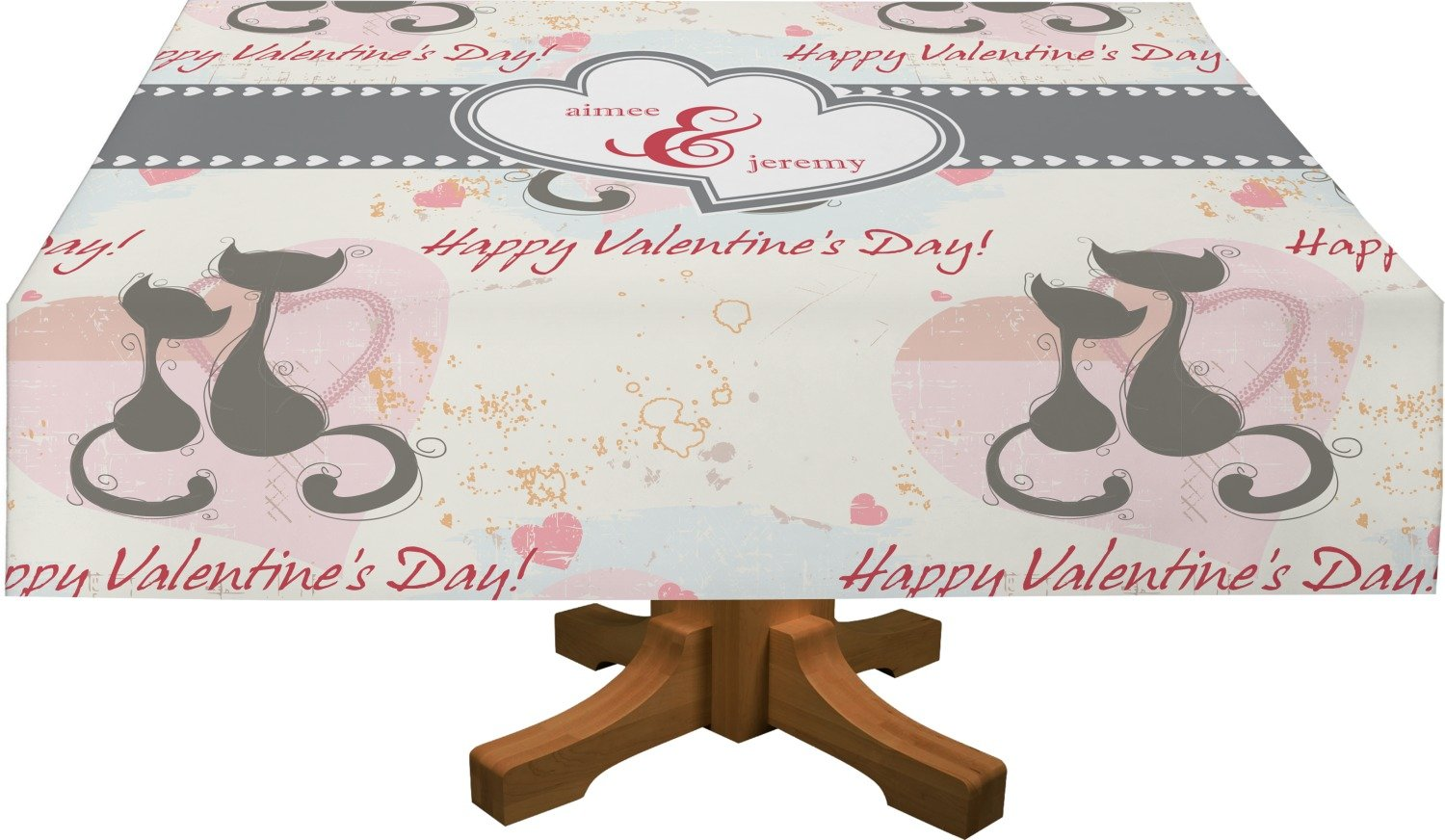Cats in Love Rectangular Tablecloth - 88''x156'' (Personalized)