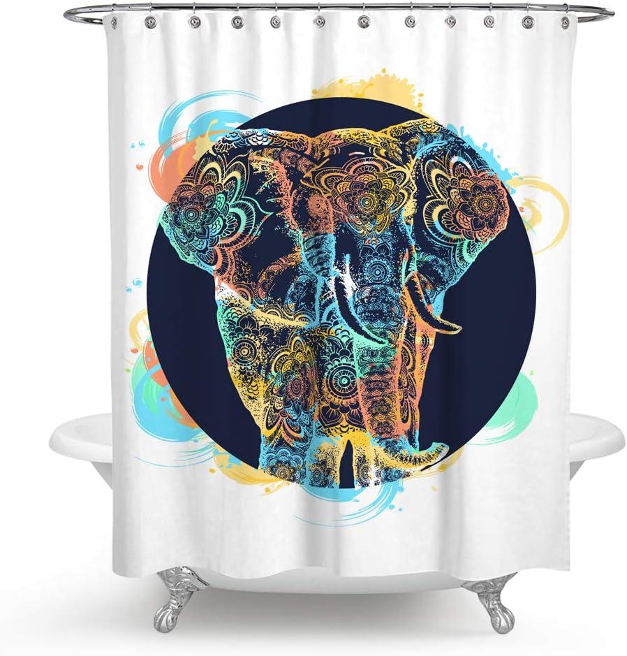 100/% Polyester Fabric Mandala Elephant Shower Curtain Liner Bathroom Set Hooks