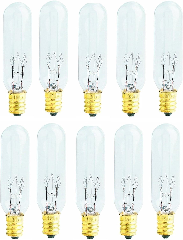 Pack of 10 Bulbs 15 Watt T6 Tubular 15T6 Light Bulb for Himalayan Salt Lamps, Fits E12 Socket, Candelabra Base
