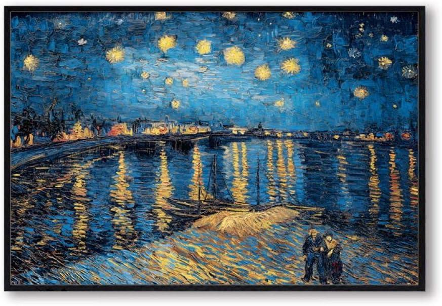 N / A Escandinavo Lienzo Pintura Elegante Noche Estrellada en el río Ródano Famoso Arte Abstracto impresión póster Cuadros decoración de la Sala de Estar 40x60 cm sin Marco