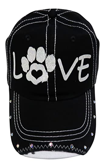 a1c404eca26 Image Unavailable. Image not available for. Color  White Glitter Love Paw  Print Mom Black Baseball Cap Animal Dog Cat