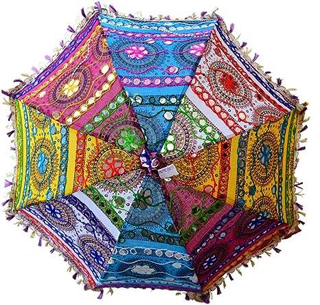 ganesham Handicraft- indio decorativo hecho a mano Funda de algodón Espejo trabajo bordado playa paraguas de protección UV paraguas, sombrilla de sol Paraguas bordado, Boho Indian boda paraguas sombrilla: Amazon.es: Hogar