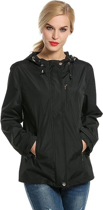 Meaneor Womens Hooded Outerwear Hiking Waterproof Jacket Rain Coat