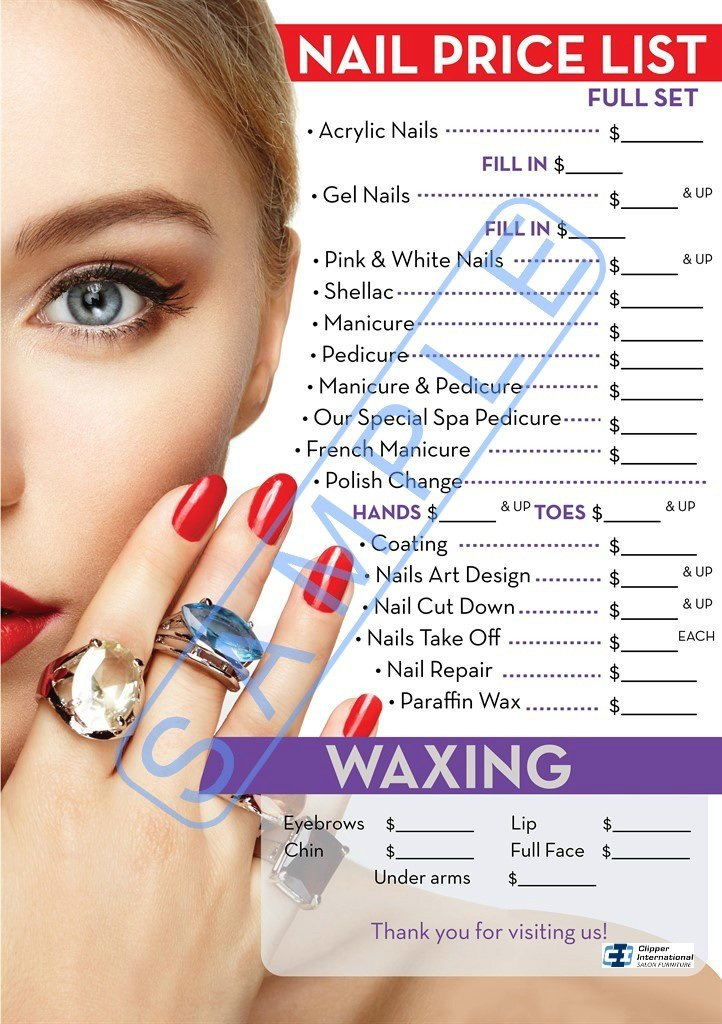 Amazon.com: Nail Price List | Price List For Nail Salon | Salon ...