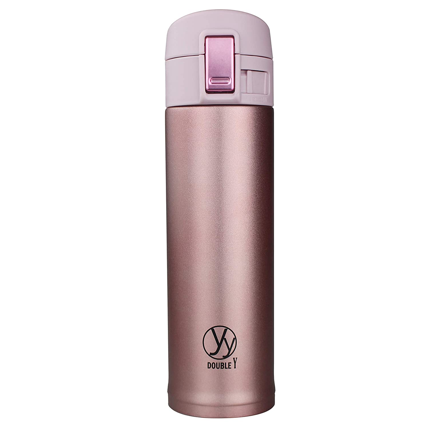Double Y 17 Ounce 18/8 Stainless Steel Insulated Water Bottle,Double Walled Vacuum Flask Thermo (Black) Ervan