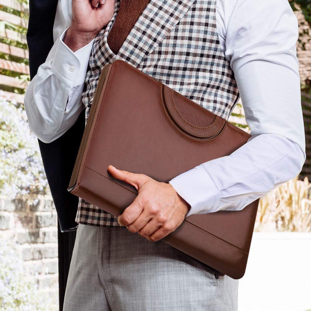 MoKo Cartella Portadocumenti Tablet iPad Quaderni e Documenti 11 Pollici Organizzatore in Pelle PU Business Professionale con Manico per iPhone Vino Rosso