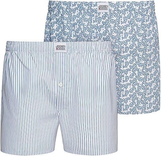 Jockey 2-Pack Rayas Y Pantalones Cortos Bóxer De Hombre Tejido Stralley, Azul/Blanco: Amazon.es: Ropa y accesorios