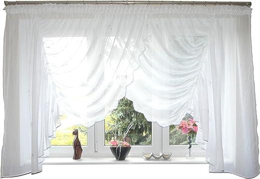 NEU Weiß Schwarz Wunderschöne /& Moderne Gardine  6  x 1,40 Silber