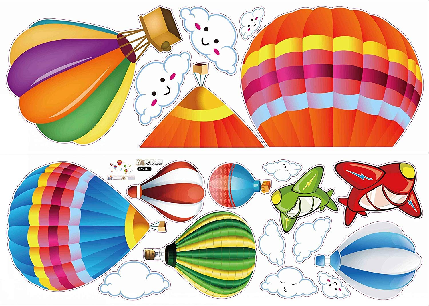Amaonm Removable Creative 3D Hot air Balloon Aircraft and Smile Clouds Wall Decals Kids Room Wall Decorations Art Decor Stickers Nursery Decor 3D Art Decal Bedroom Bathroom Sticker by Amaonm