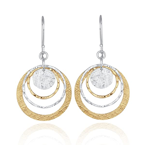Delightful Multi Circle Two Tone Earrings 925 Sterling Silver & 14k Gold Filled V3Cy6th