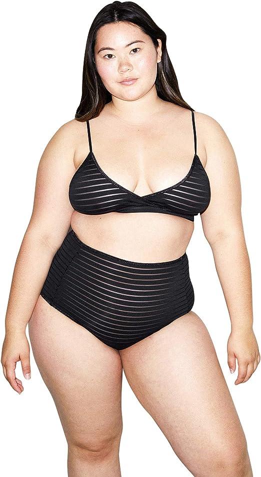 American Apparel Sheer Mesh Sofia Bodysuit in Black Size Medium NEW