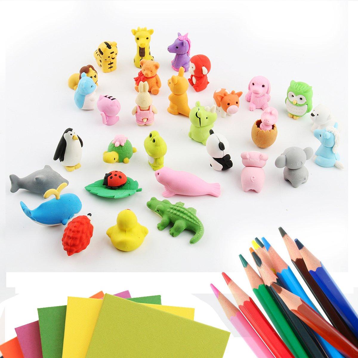 Funhoo 30 Pezzi Gomma a Forma di Animali Gomme da Collezione per Bambini Scuole Gli studenti Scuola Cancelleria il Giocattolo Creativo