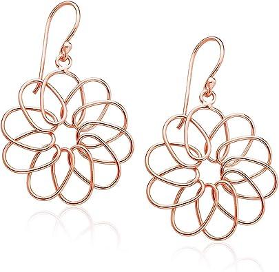 925 Sterling Silver Orange Cubic Zirconia Star Drop//Dangle Earrings
