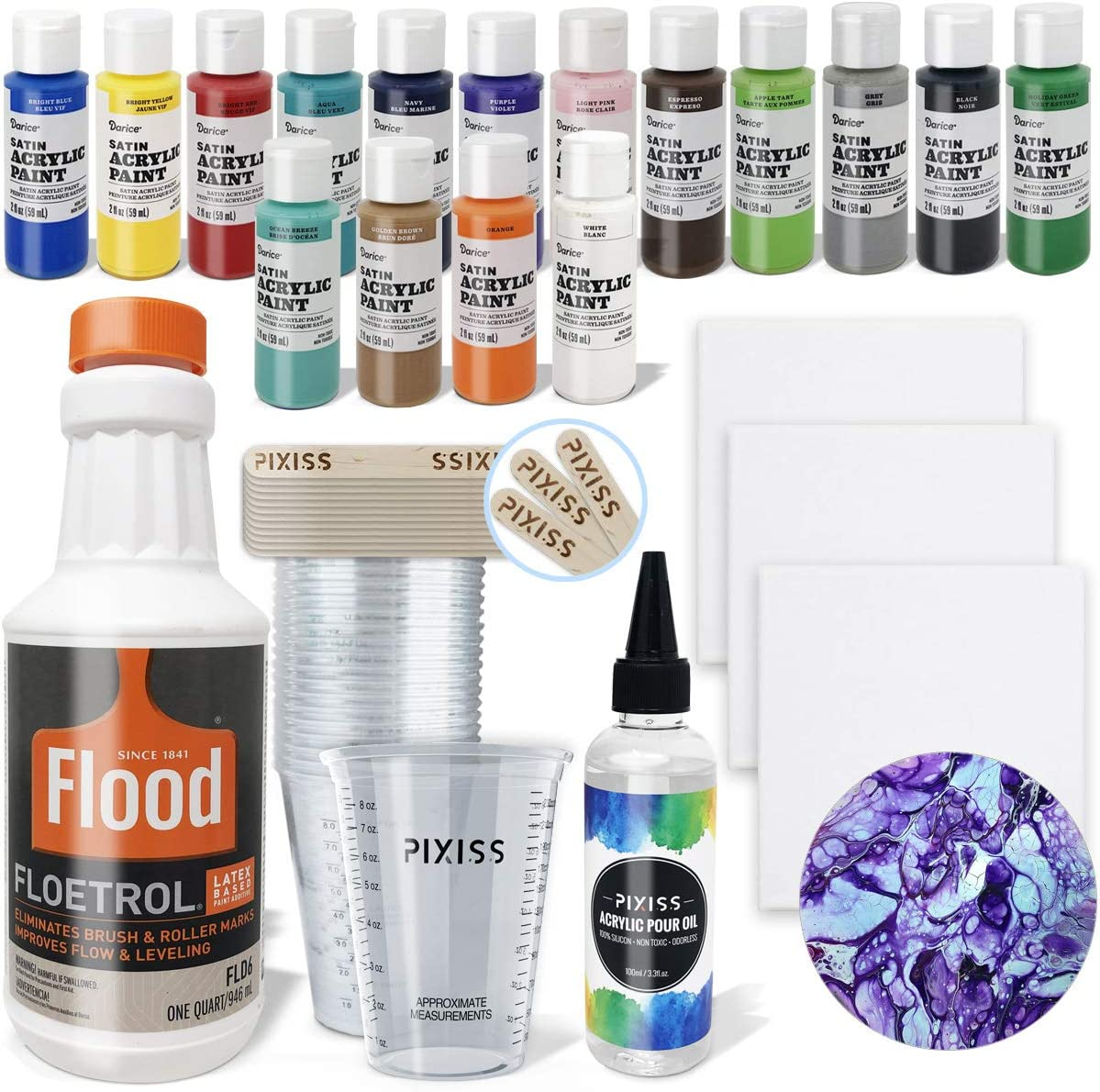 Amazon Com Acrylic Paint Pouring Kit Floetrol Pouring Medium For Acrylic Paints Cups 16x 2 Ounce Acrylic Paints 3x Canvases Pixiss Acrylic Pouring Oil Mixing Sticks Gloves Complete Paint Pouring Kit
