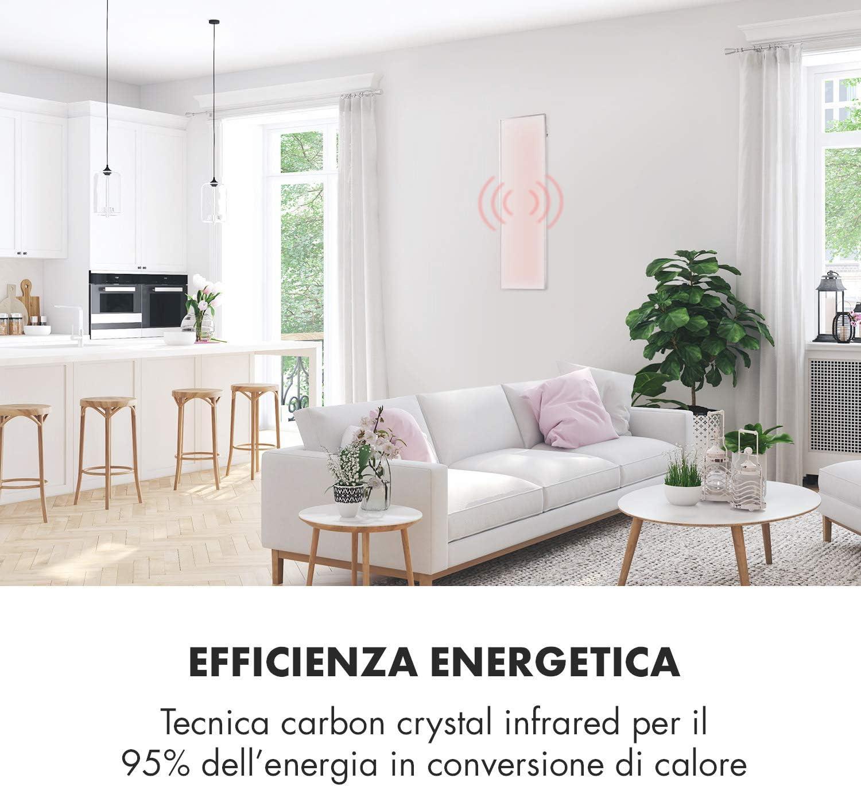 Bianco Antico Termostato Cristalli di Carbonio 50 x 90 cm Timer Pannello Riscaldante a Infrarossi IP24 450W Klarstein Wonderwall Antiallergico