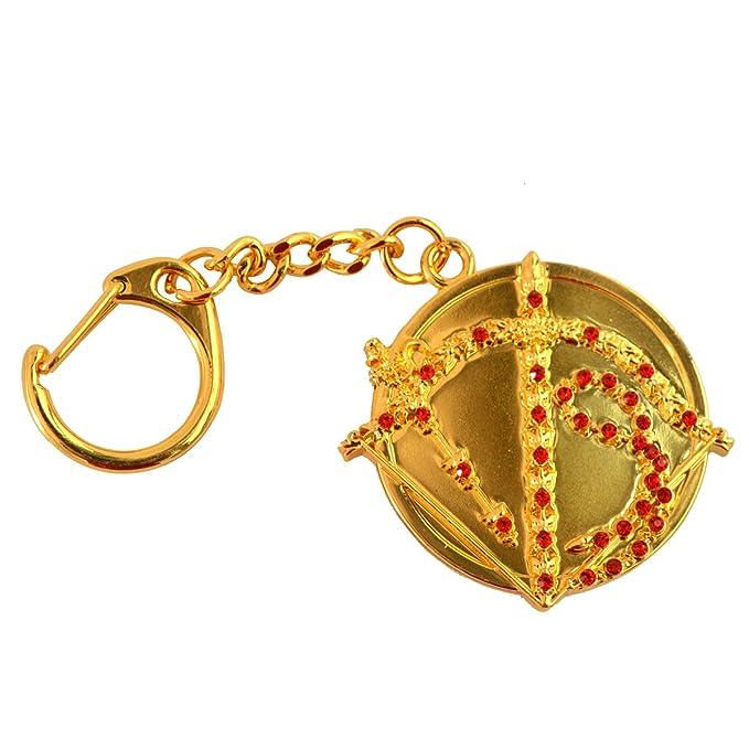 W1610 Llavero amuleto, color dorado y rojo, incluye pulsera ...