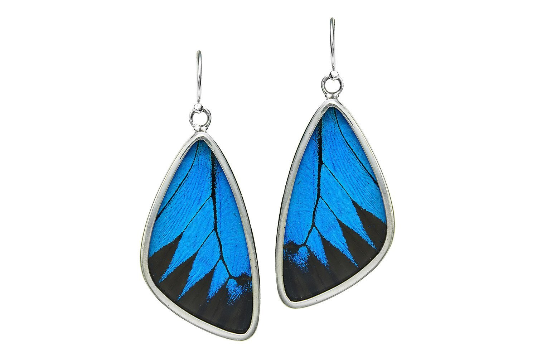 Real Butterfly Wing Earrings in Sterling Silver - Style #2