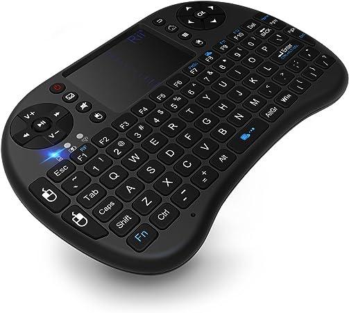 TICTID Mini Teclado Inalámbrico con Touchpad, batería recargable y botones multimedia para Smart TV, mini PC, Android TV Box y más