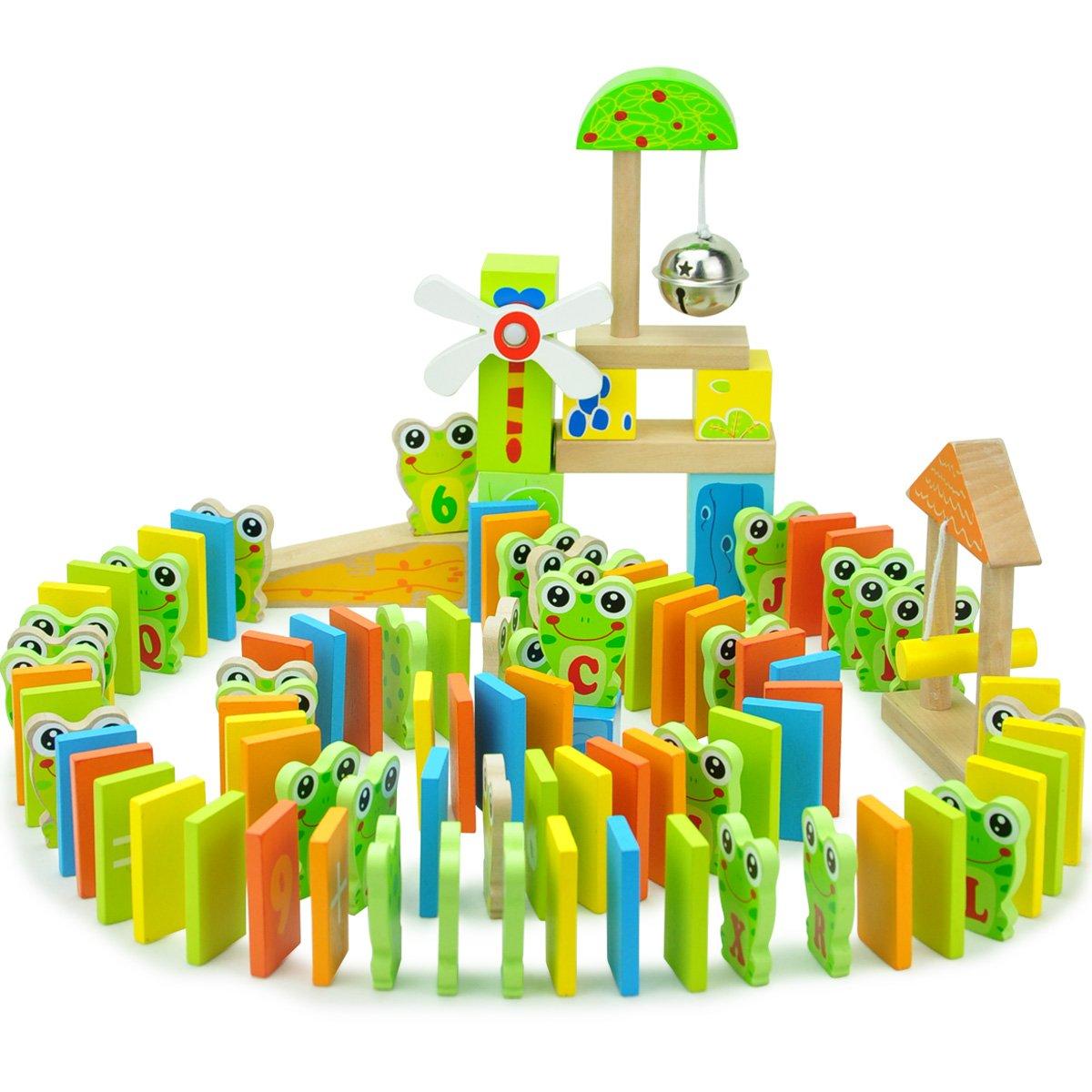 Andreu Toys TB15400 100 Pcs Wooden Frog Domino, Multi Colour, 19 x 18 cm
