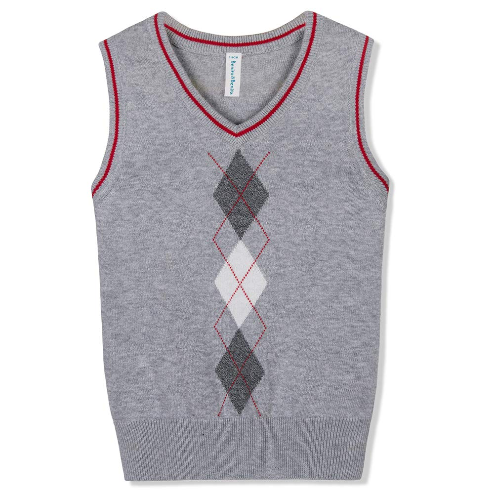 Benito /& Benita Boys Sweater Vest School V-Neck Uniforms Pullover Sweaters with Argyle Patterns for Boys 3-12Y