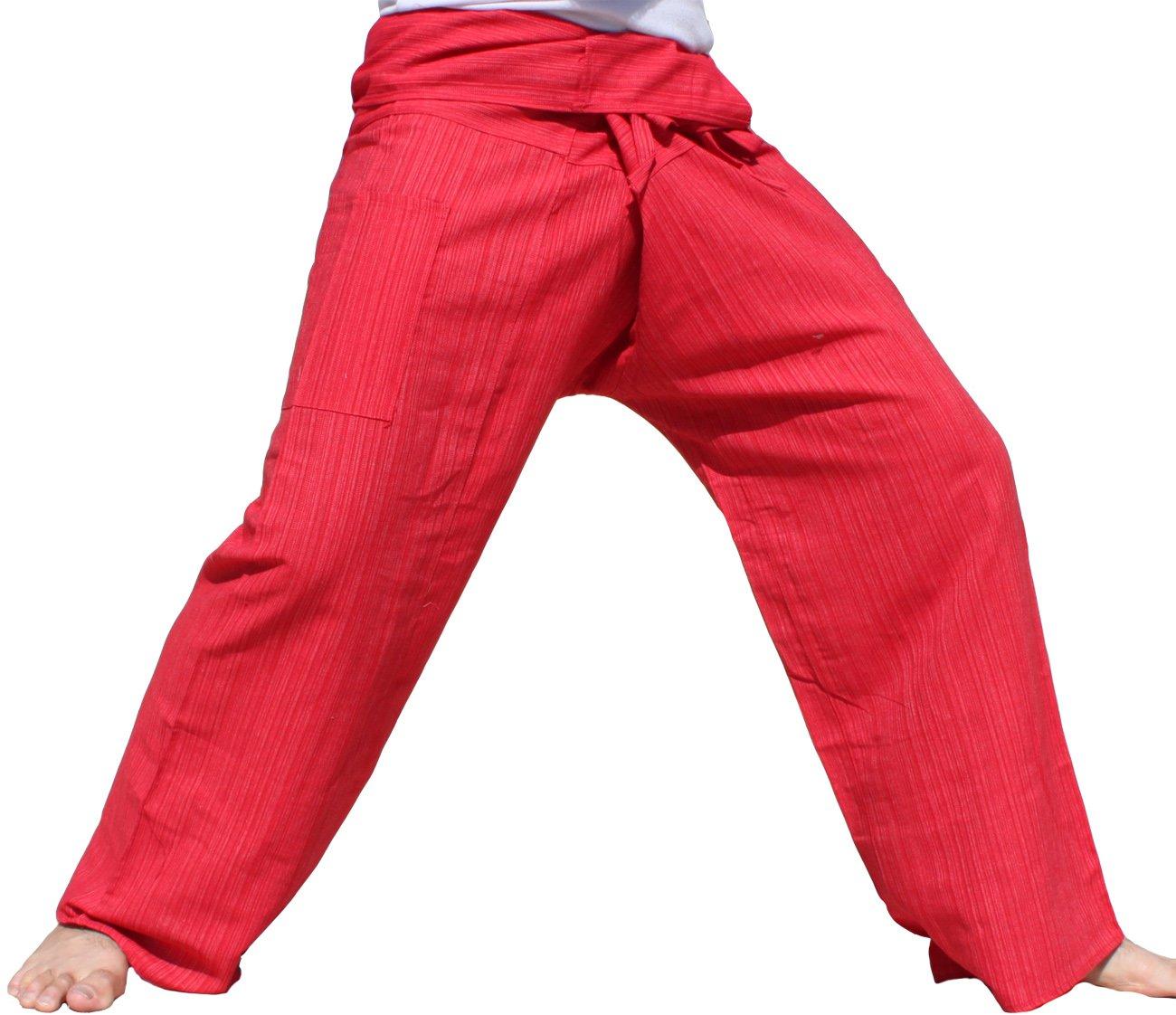 RaanPahMuang Light Striped Cotton Tall Thai Fisherman Wrap Pants Plus, XX-Large, Light Red by RaanPahMuang