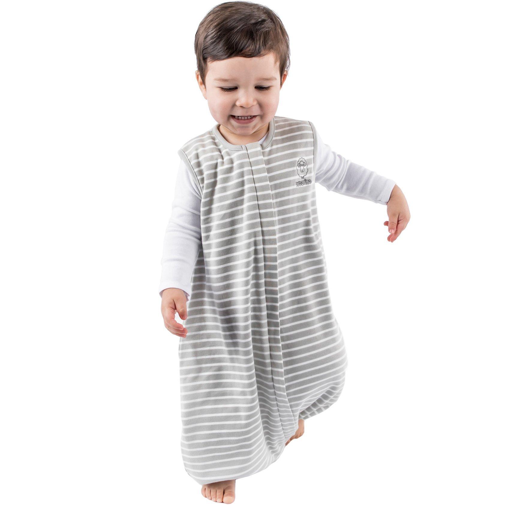 Woolino 4 Season Baby Sleep Bag with Feet, Merino Wool Walker Sleep Bag or Sack, 6-18m, Gray