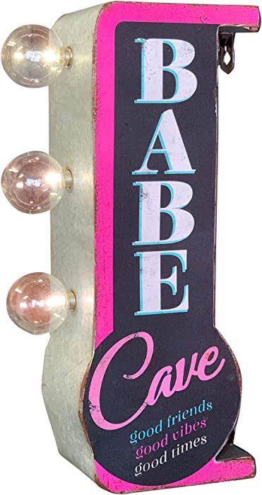 "Babe Cave LED Marquee Metal Sign, Good Friends Good Vibes Good Times, 12"" Double Sided, Battery Powered Wall Decor for Home, Bar, Garage, Game Room, Arcade, or She Shed"