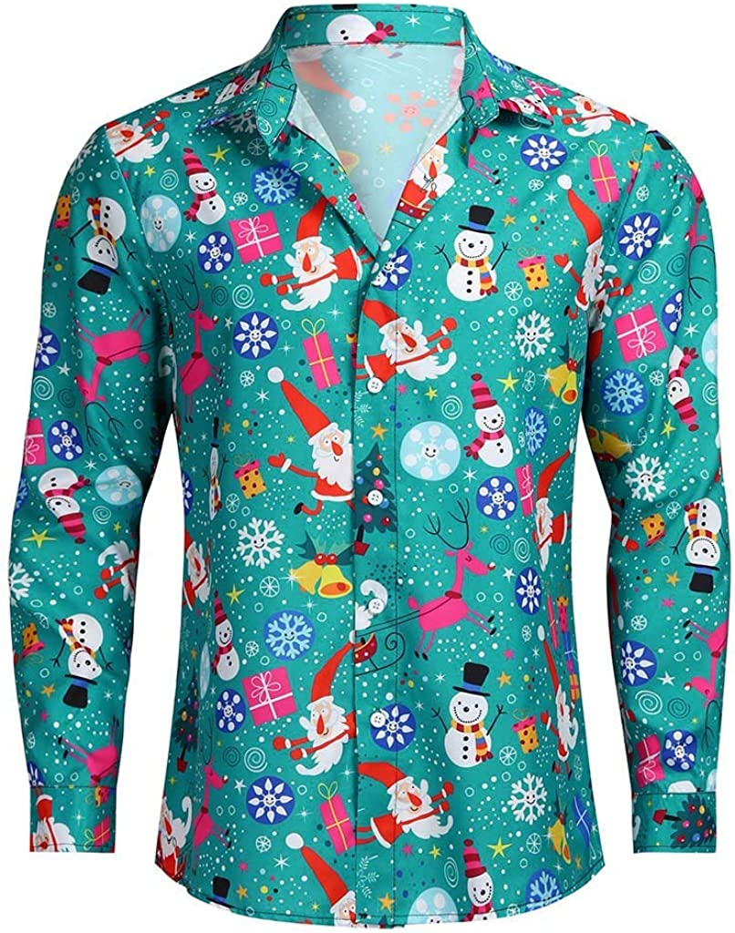 HOT1950s Camisas de Navidad feas de Manga Larga para Hombre, Camisetas de Navidad Divertidas Impresas con Botones Verde Verde XL: Amazon.es: Ropa y accesorios