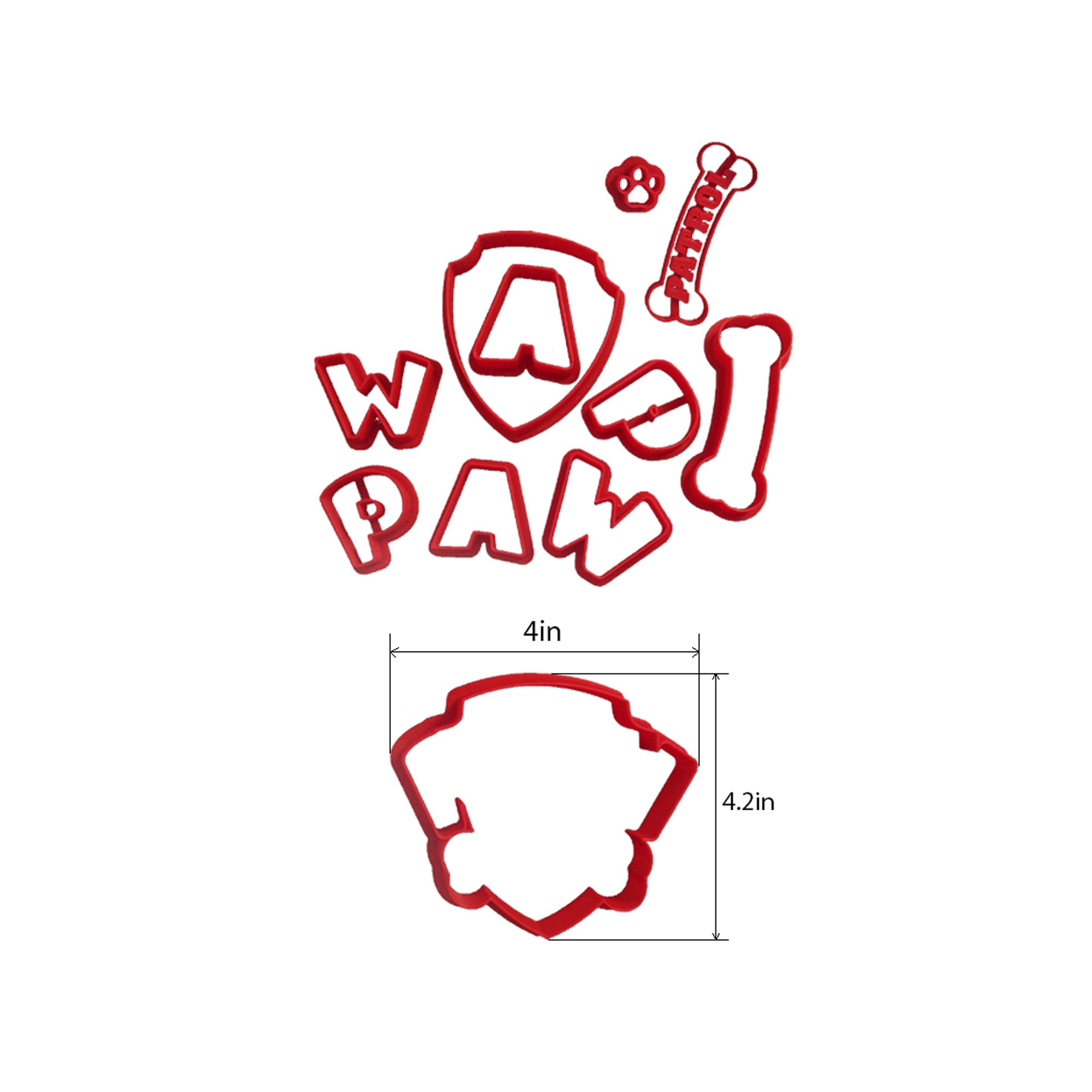 Paw Patrol Logo Cookie Cutter Set, choose 2, 3, 4, 5.5 inches. This cutter is a lot easier to use than trying to cut the logo out by hand. Absolutely (4 inch)