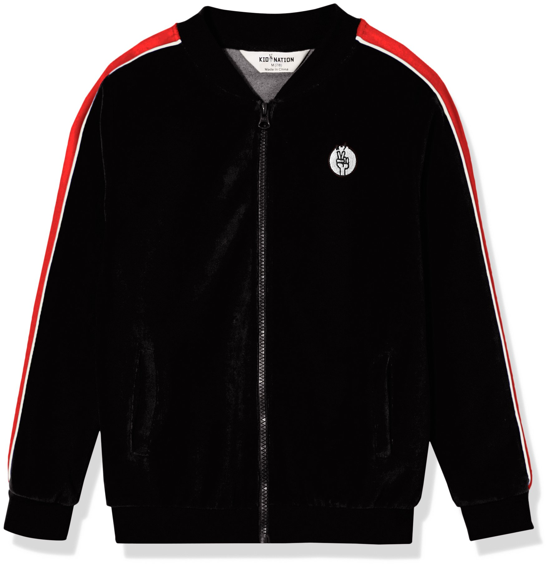 Kid Nation Kid's Cozy Velour Track Jacket for Boys and Girls M Black/Red