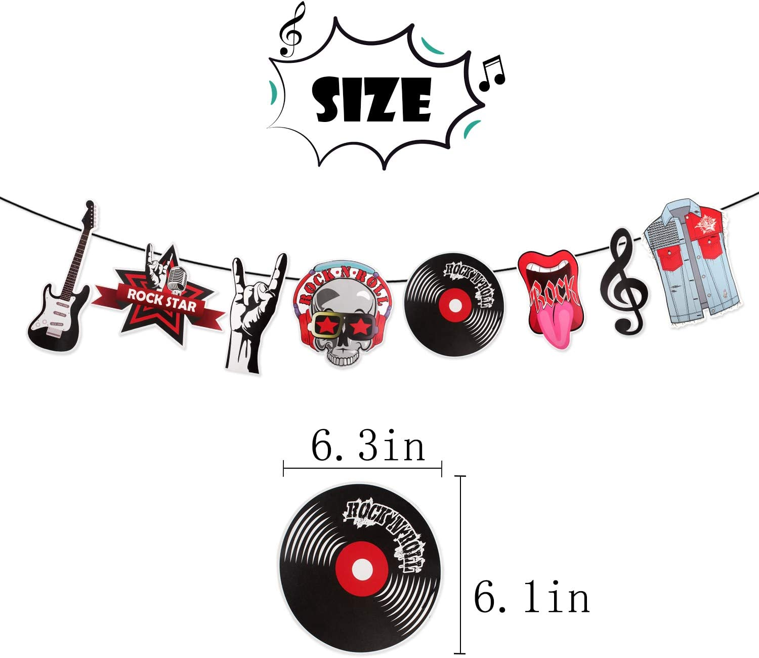 Rock N Roll Birthday Banner Guitar Banner Music Birthday Banner Music Party Supplies Rock N Roll Party Decorations Music Rock Star theme Banner