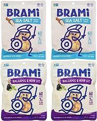 BRAMI Lupini Bean Snack, Salad Topper | Plant Protein, Vegan, Gluten-Free, Low Calorie, Zero Net Carb, Keto, Lightly Pickled, Mediterranean Legume | Pack of 4, 5.3 oz (150g)