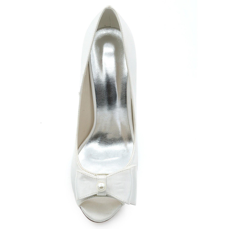 Elobaby Scarpe da Sposa Donna Abito Abito Abito Slingback Fashion Satin Silk Spring Peep Toe Damigella d'Onore Tacco 9cm | Commercio All'ingrosso  c9a78c