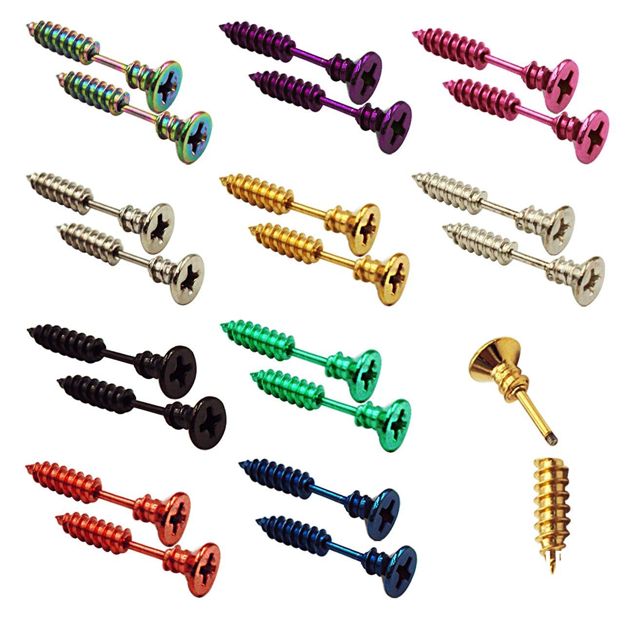 FANCER (20 PCS) Screw Earrings, Men's Women's Stainless Steel Punk Hip-hop Rock Screw Spike Rivet Nail Unisex Piercing Ear Studs Jewelry