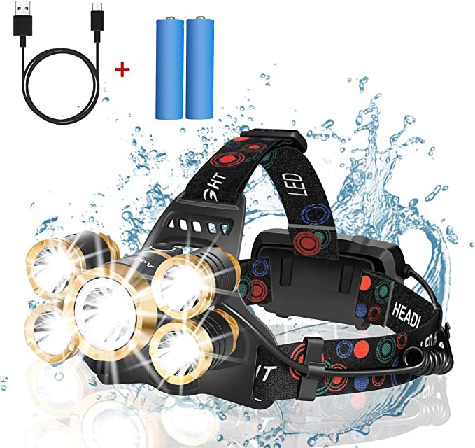 Details about  /90000 Lumen 5 LED Focusing Headlamp Headlight Rechargeable Torch with battery MA