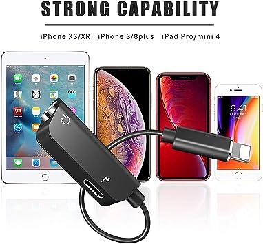 unterst/ützt iOS 13 wei/ß kompatibel mit Phone11//X//8//8//7,Pad//Pod 3,5 mm Klinkenstecker Kopfh/örer-Audio-Adapter 3-in-1 Dual 3,5 mm Kopfh/örer Aux Audio Splitter Adapter mit Ladeanschluss