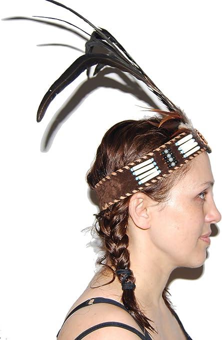 Ethical Native American Headdress Headband Beads /& Feathers head band elastic