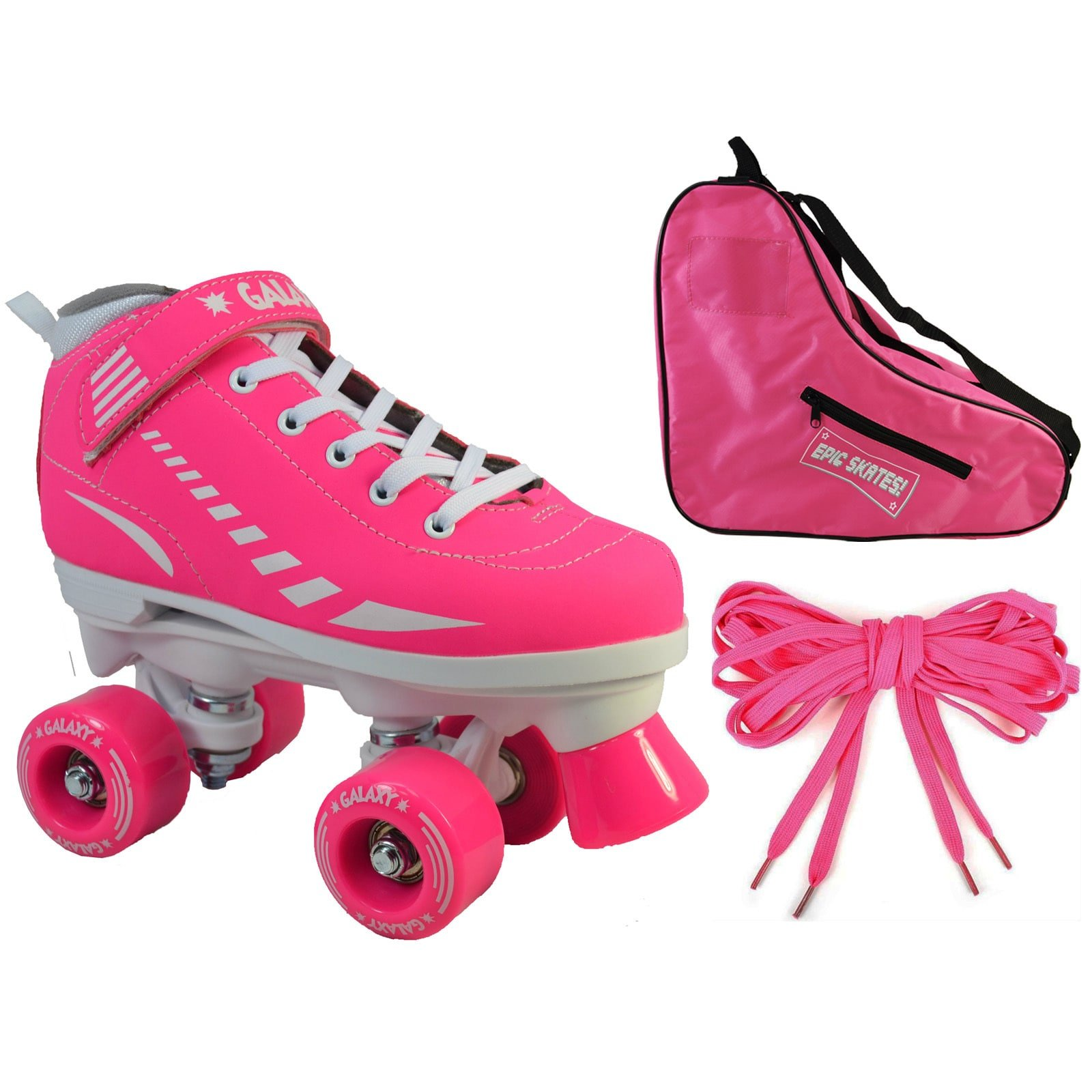 Epic Skates Epic Pink Galaxy Elite Quad Roller Skate 3-piece Bundle 2