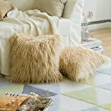 Pack of 2,Miulee Decorative New Luxury Series Merino Style Brown Fur Throw Pillow Case Cushion Cover for Sofa Bedroom Car 18 x 18 Inch 45 x 45 Cm