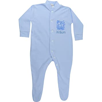 6433fe5fb Personalised Baby Boy s Blue Spring Lamb All in One Sleepsuit (3-6 ...