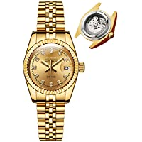 JSDUN Women Automatic Watches Gold and Silver Tone Luxury Mechanical Self Winding Watches - Enlarge Date Window Sapphire Mirror