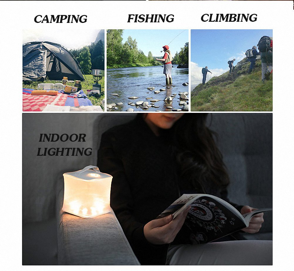 Party Arols Inflatable Solar Light Collapsible LED Camping Lantern Outdoor Survival Emergency Lighting for Patio Hiking Fishing Clear Round 1 Pack