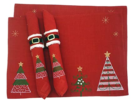 dii 2 holiday trees embroidered christmas placemats with napkins and napkin rings - Christmas Placemats And Napkins