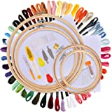 BASEIN Ricamo Starter Kit, Kit di Attrezzi a Punto Croce con 5 Pezzi di Cerchi di bambù, 50 Fili Colorati, 12 da 18 Pollici Set di Aida e Aghi da Collezione Classic Count a 14 Pollici