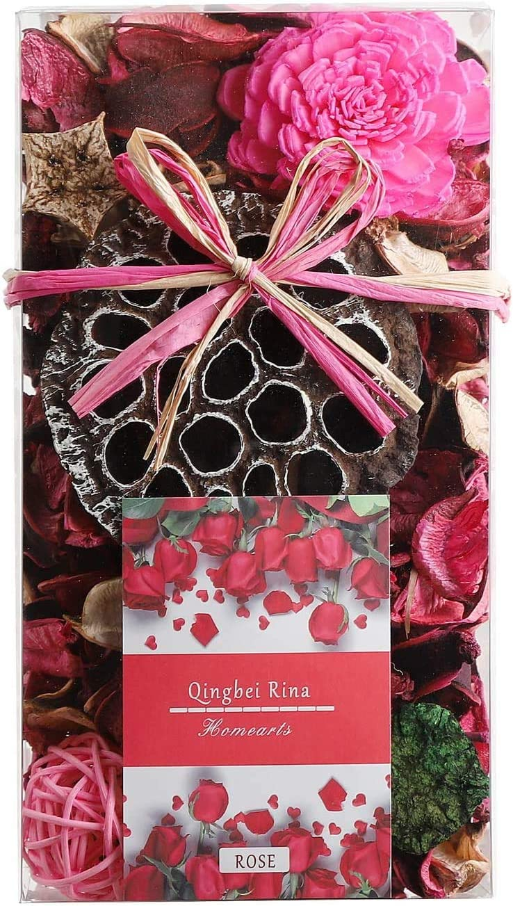 Qingbei Rina Gifts Rose Scent Potpourri Box Perfume Satchet Home Fragrance Decoration Christmas Aroma Gift Decorative Filler for 48fl-oz Bowl or Vase (Pink)