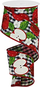 "Craig Bachman 2.5"" Apples On Check Ribbon: Black (10 Yards) - Black White Check Apple Wired Ribbon"
