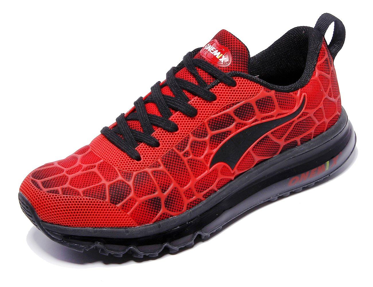 ONEMIX Women's Air Cushiong Running Shoes,Lightweight Sport Athletic Sneakers B07CCH9KBY Men 8(M)US 41EU/women 9.5(M)US 41EU|Red/Black