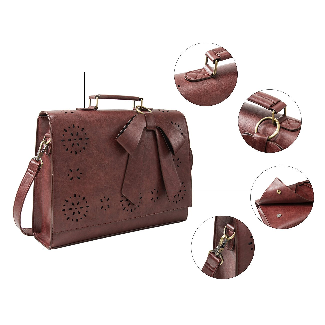 ECOSUSI Ladies PU Leather Laptop Bag Briefcase Crossbody Messenger Bags Satchel Purse Fit 14'' Laptop, Brown by ECOSUSI (Image #5)