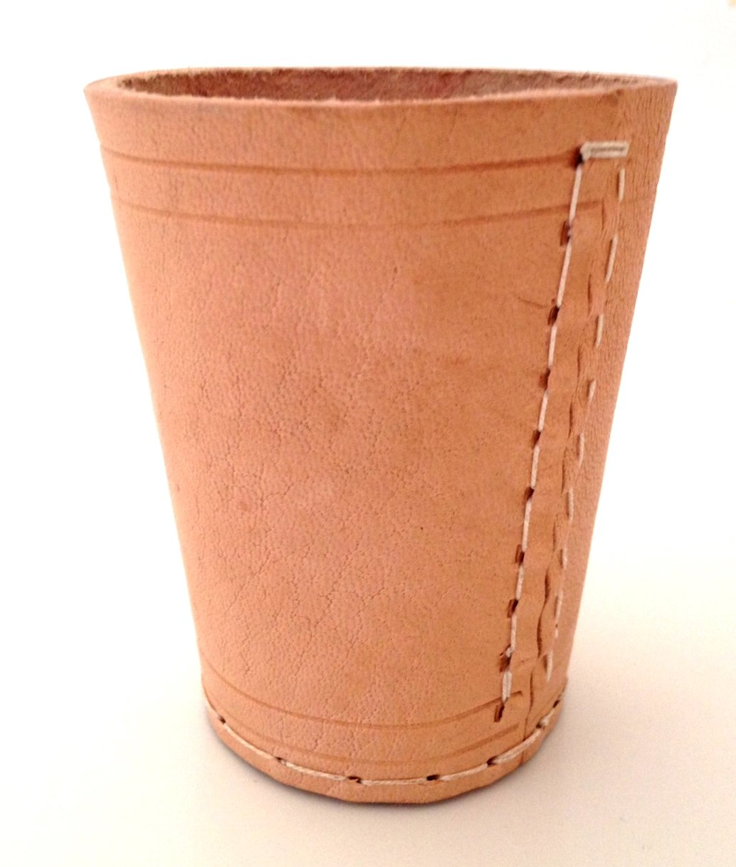 NEW HAND MADE NATURAL REAL LEATHER DICE CUP SHAKER POT - UK SELLER Harrington Marley
